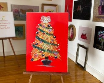 Bright and Bold miniature Christmas tree painting