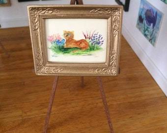 Dolls House Miniature original art. Framed garden cat painting