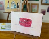 Modern Miniature Painting  handbag Dolls House or Collectible Picture in a frame