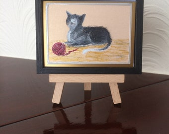 cat Miniature original art. Cute Cat by Hazel Rayfield