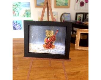 Dollhouse teddy bear with cello painting original art miniature concerto teddy