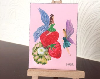 Strawberry  Fairy Faries Miniature Collectible  ACEO Paintings by Miniature Artist Hazel Rayfield