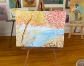 Dollhouse miniature  Autumn   landscape painting.  Beautiful golden and red trees line river