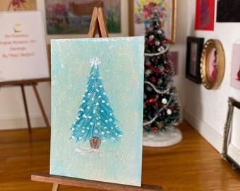 Dollhouse Christmas tree miniature painting. One of a kind original