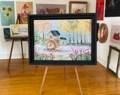 Dollhouse  watermill fall autumn landscape painting  framed