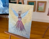 Dollhouse Angel in the clouds painting.  Guardian Angel holding a silver heart