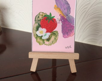 Strawberry  Fairy Miniature Collectible  ACEO Paintings by Miniature Artist Hazel Rayfield