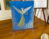 Dollhouse Angel in the clouds painting.  Guardian Angel holding a candle