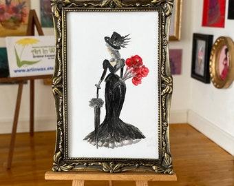Miniature Art. Lady Luck miniature dollhouse framed art collectible furniture