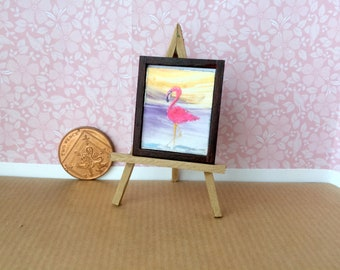 Pink Flamingo Original dollhouse Framed Miniature Dolls House 1:24 Scale