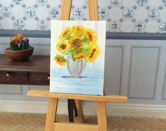 sunflowers in a silver vase Original Dollhouse Painting Miniature Art Picture