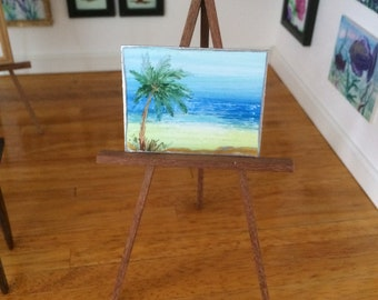 Palm tree seascape painting miniature dollhouse original unique art