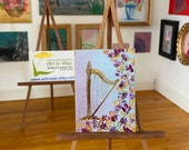 Miniature dolls house modern or classic harp painting
