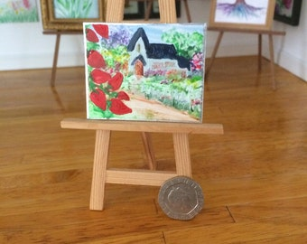 Dolls House strawberry Cottage Landscape Painting Dollhouse