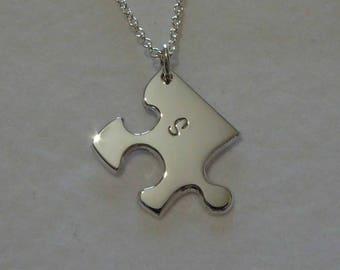 Autism Puzzle Pendant - Silver Personalised Edge Jigsaw Puzzle - Handmade Puzzle Necklace