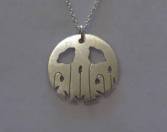 Silver Poppy Necklace - Handmade Poppy Pendant - Satin Flower Charm