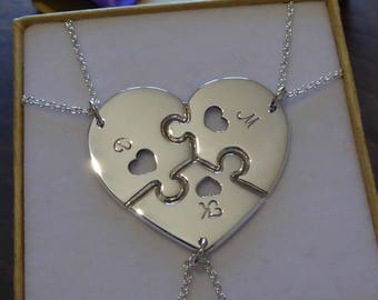 Silver Three Piece Necklace - Three Piece Heart - Best Friend Necklaces - Family Pendants