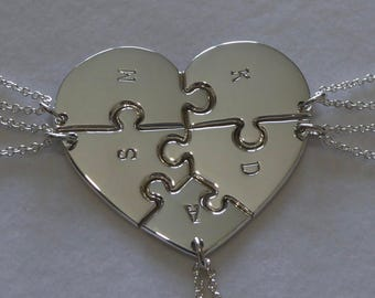 Heart shaped jigsaw puzzle pendants necklaces with initials