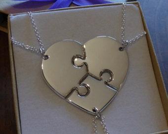Three Piece Heart - Silver Puzzle Pendants - Bridesmaid Necklaces