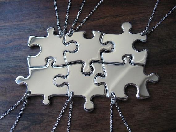6 puzzle piece pendant necklaces argentium silver etsy image 0 aloadofball Gallery