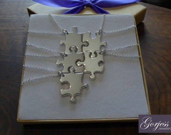Five Handmade Puzzle Pendants - Silver Puzzle Necklaces - Five Necklace Set - Chunky Puzzle Charms