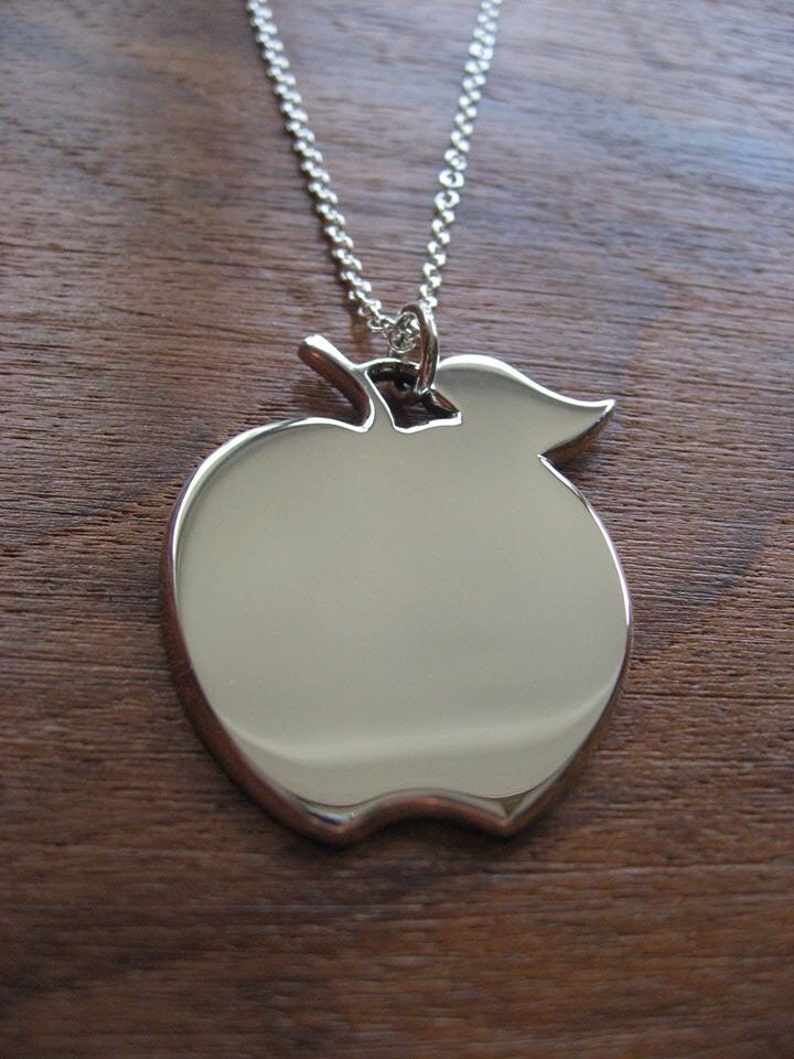 Silver Apple Pendant Apple Necklace