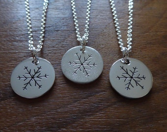 Three Silver Snowflake Necklace Pendants