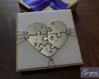 Five Piece Heart Necklace - Silver Puzzle Piece - Family Puzzle Pendants - Best Friend Necklaces - Font 2