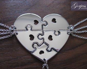 Five Piece Heart Necklace - Silver Puzzle Heart Pendants - Silver Puzzle Pieces