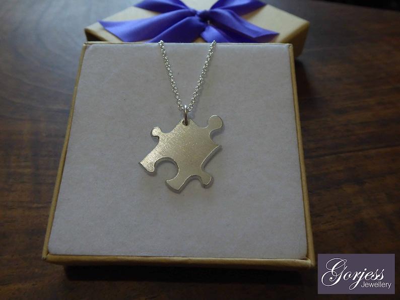 Four Handmade Silver Puzzle Pendants Satin Best Friend Jigsaw Puzzle Charms Four Silver Puzzle Necklaces