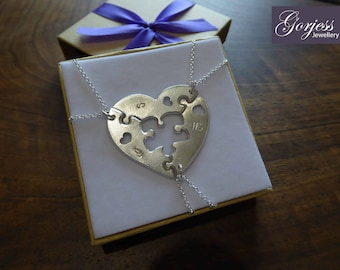 Three Piece Puzzle Heart Necklaces with Missing Piece, Satin