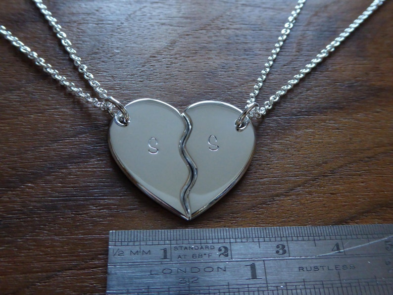 5838077bfb Personalised Two Piece Heart Puzzle Best Friends Pendant | Etsy