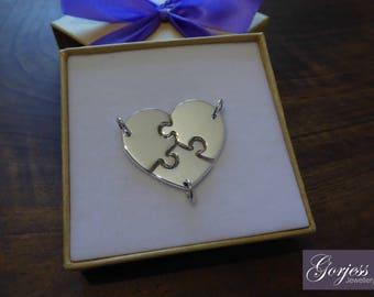 Miniature Three Piece Heart - Puzzle Bracelets - Jigsaw Puzzle Necklaces