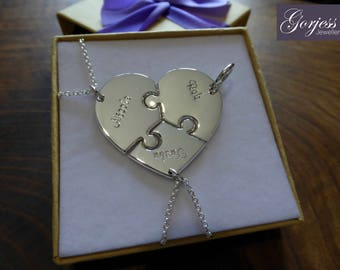 Friendship Necklaces - Three Piece Heart - Silver Necklaces and Keychains