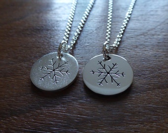 Two Silver Snowflake Necklace Pendants