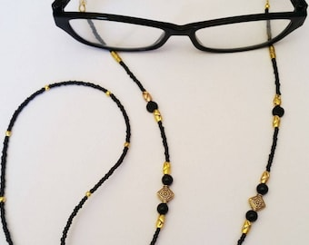 GOLD & Black Glass Eye Glasses Holder, Beaded Lanyard Necklace, Elegant Fashion Accessory Elegant Necklace