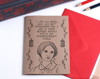 Charlotte Bronte Card Jane Eyre Card Book Card Greetings Card Book Lover