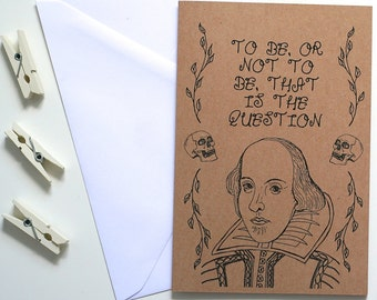 William Shakespeare Card Shakespeare Card Hamlet Card Book Card Greetings Card Book Lover