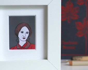 Charlotte Bronte Print Jane Eyre Print Book Worm Print Framed Print Book Lover Miniature Frame