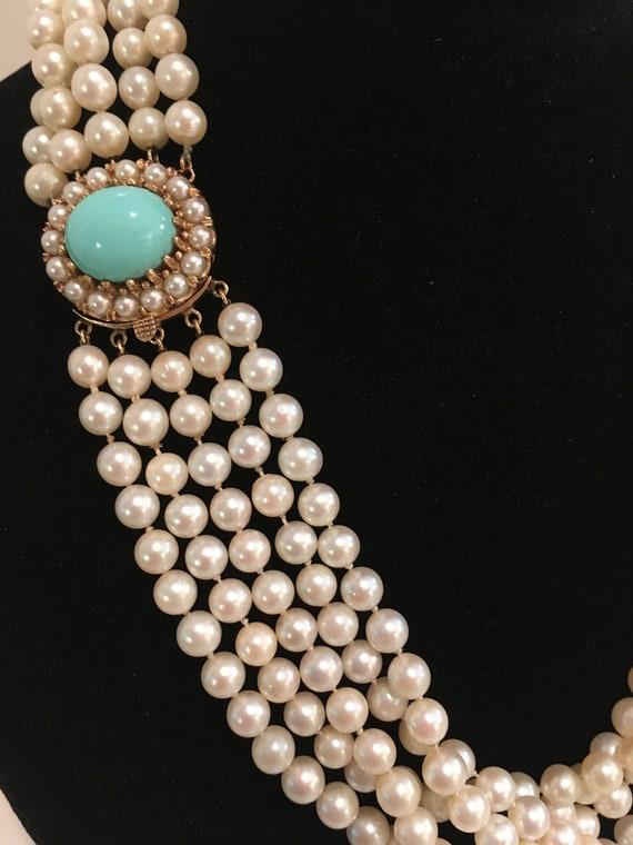 Vintage Pearl Necklace, 14kt Sleeping Beauty Turqu