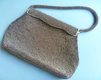1960's EVENING BAG, Copper/Bronze, Vintage Beaded Handbag, Hong Kong / Purse