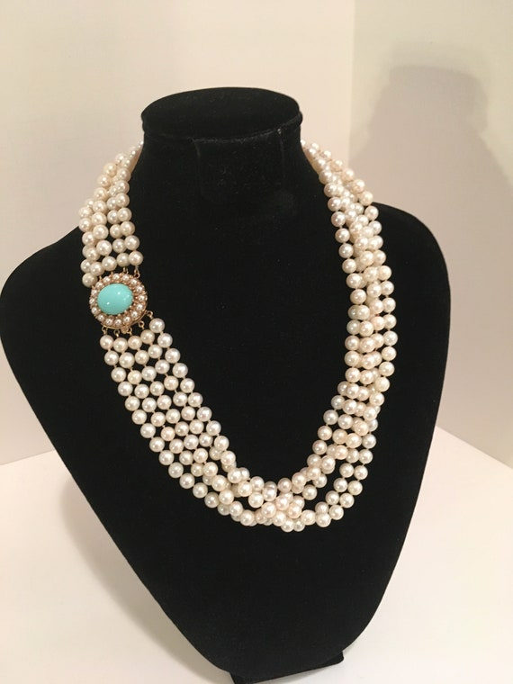 Vintage Pearl Necklace, 14kt Sleeping Beauty Turqu