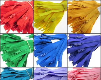 "10 x 6"" Closed End Nylon Zips - Assorted Colors - Free UK 1st Class P&P"
