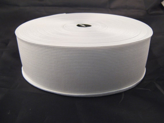 3 75mm White Woven Flat Elastic Craft Sewing priced per metre