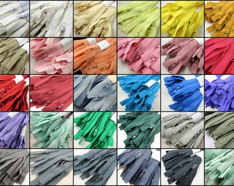 "10 x 9"" Closed End Nylon Zips - Assorted Colors - Free UK 1st Class P&P"
