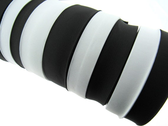 3 75mm Black Woven Flat Elastic Craft Sewing priced per metre