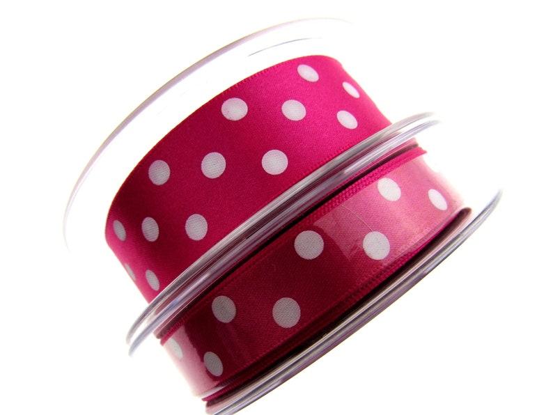 x 15mm Berisfords Essentials Polka dot Satin Ribbon 20m Whole Roll