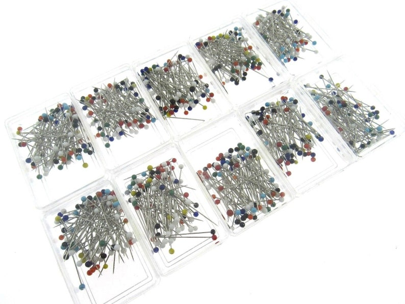 80 Pins Suitable for Lace /& Wedding Dresses 32mm Coloured Glass Head Pins