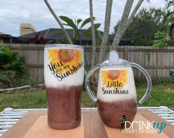 Set of 2 Ombre' Glitter You are My Sunshine / Child Custom Tumblers / Sippy Cup / Matching Cups / Personalized Gift / Mom and Child tumbler