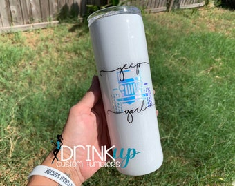 Jeep Girl Custom Holographic Glitter Tumbler // Jeep Life // Jeep Driver // Jeep Wrangler // Customize // Living the Jeep Life / Dogs// Jeep